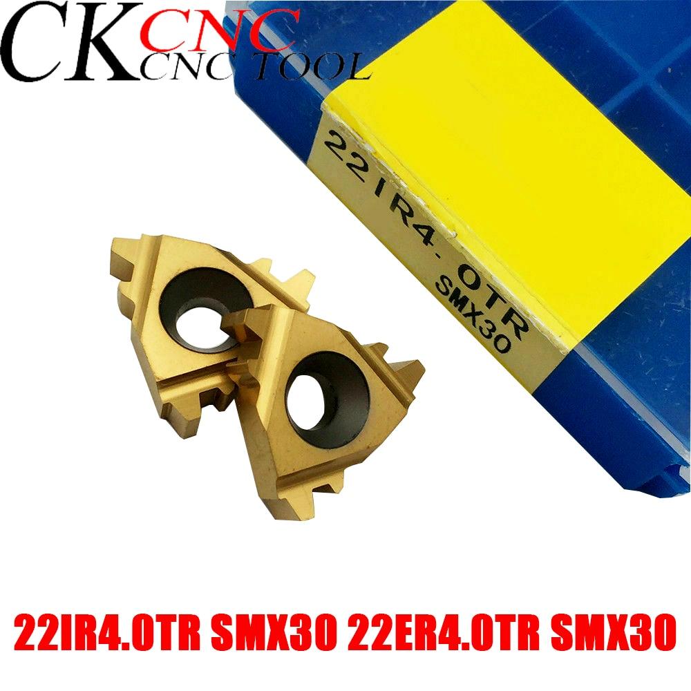 10PCS 22IR 4.0TR SMX30 22ER 4.0TR SMX30 30 degree CNC threading cutting inserts turning tool of cnc lathe cutter high qualit