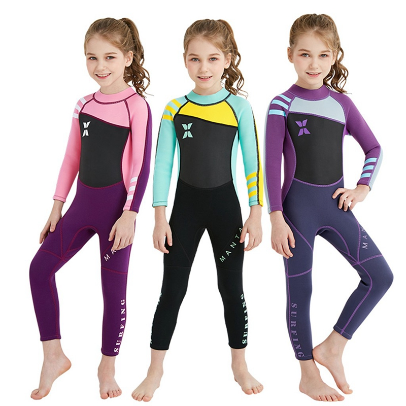 Surfing Clothes Kids Youth Boys Girls Swimsuit Long Sleeve Surfing One Piece Swimwear Diving Suit Beachwear Sun-proof Clothing