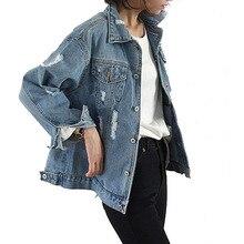 NORMOV Women Denim Jacket Coat Solid Loose Single Breasted T