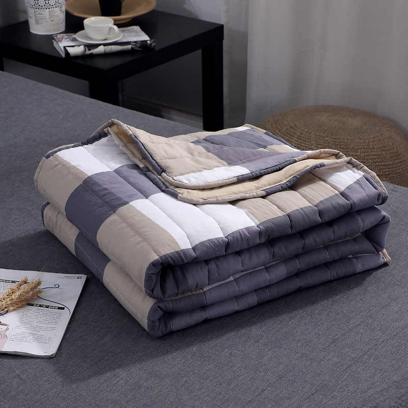 Summer Air-conditioning Quilt Soft Breathable Throw Blanket Thin Stripe Plaid Comforter Bed Cover Bedspread