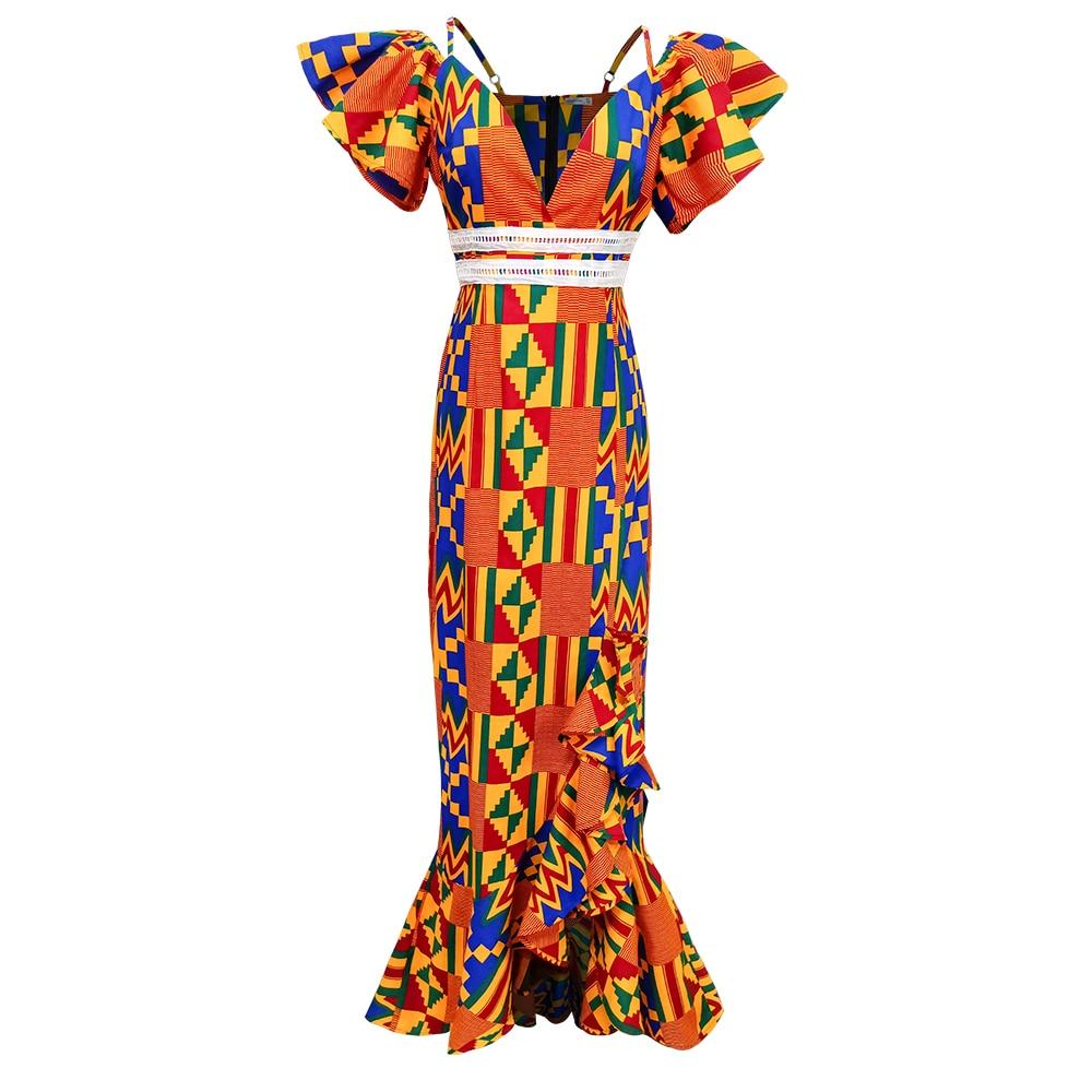 Shenbolen African Dresses For Women African Sexy Kente Dress Fashion Women Cotton Material African Traditional Print Dresses