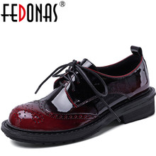 Fashion Shoes Pumps Thick-Heels Round-Toe Summer Casual Woman Patent Spring FEDONAS Four-Season