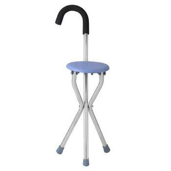 Taburete de acero inoxidable, silla de bastón práctica, silla de bastón Durabl, asiento de bastón grueso para caminar, asiento para personas mayores y pacientes