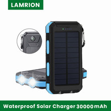 Solar Charger 30000mAh Solar Power Bank Waterproof Portable Charger External Battery Packs with Dual 2 USB/LED Flashlights Port