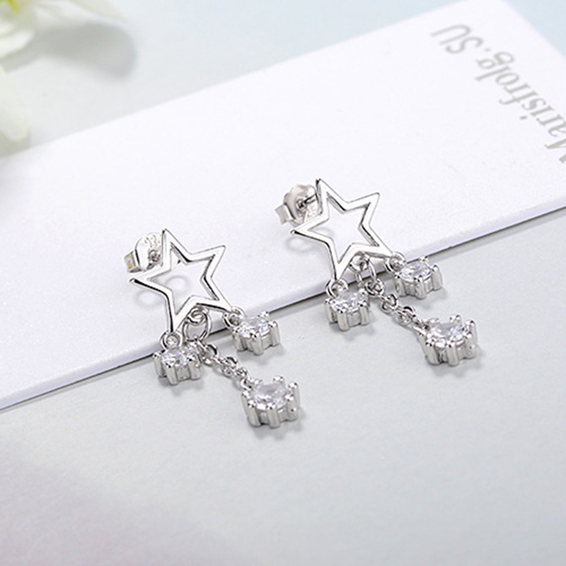 MEETSOFT Silver Plated Prevent Allergy Fashion Drop Earrings for Women Zircon Star Hollow Out White Jewelry Gift