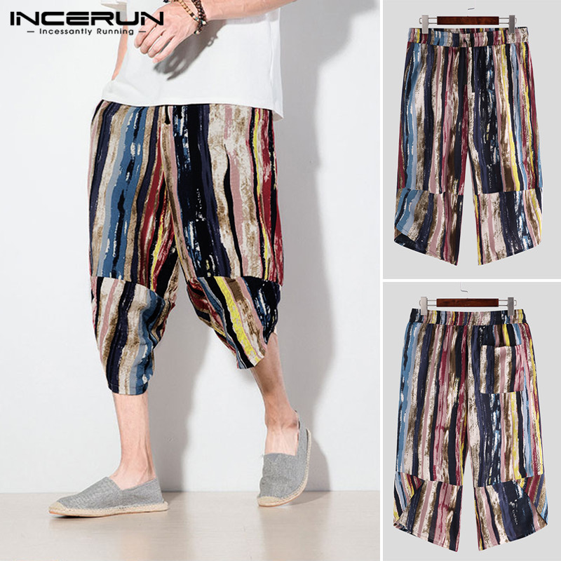 INCERUN Men Color Striped Print  Cropped Pants Men's Wide Crotch Harem Trousers Colorful  Loose Baggy Wide-legged Bloomers S-5XL