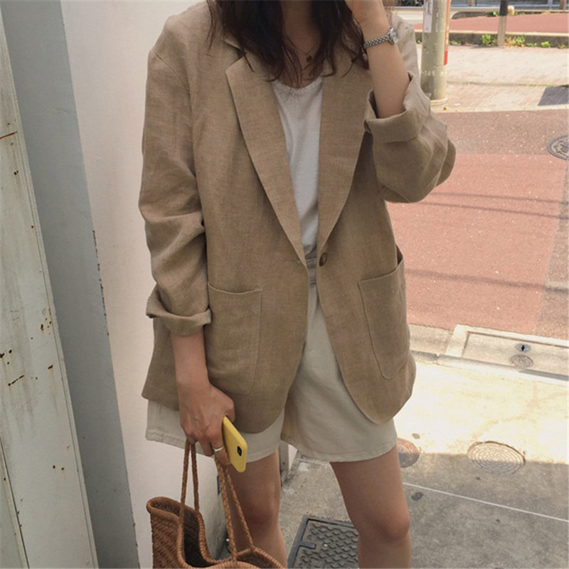 HziriP Chic Light-Brown Thin High Quality Office Lady 2020 Women Linen Fashion All-Match Retro Loose Streetwear Vintage Blazers