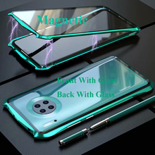 Magnetic Case For Huawei Mate 30 Pro Case Mate30 double-sided 9H Tempered Glass Case for Huawei Mate 30 Pro Metal Bumper Case for huawei p30 pro magnetic case 360 double sided tempered glass case for huawei mate 20 pro p20 pro p smart z metal bumper case
