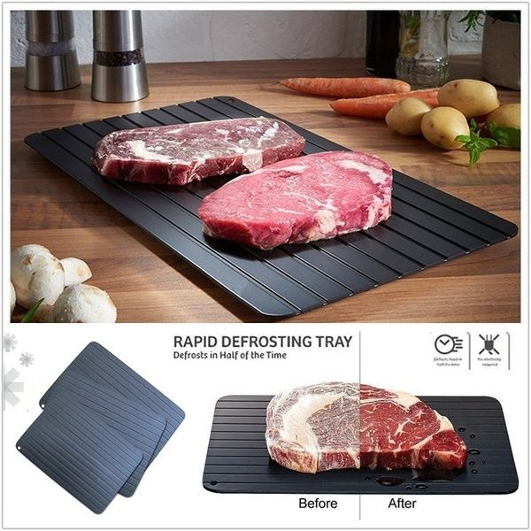 Quick Thaw Defrost Plate Aluminium Metal Fast Defrosting Meat Tray Thawing Plate Frozen Food Rapid Safety Board Food MeatPoultry