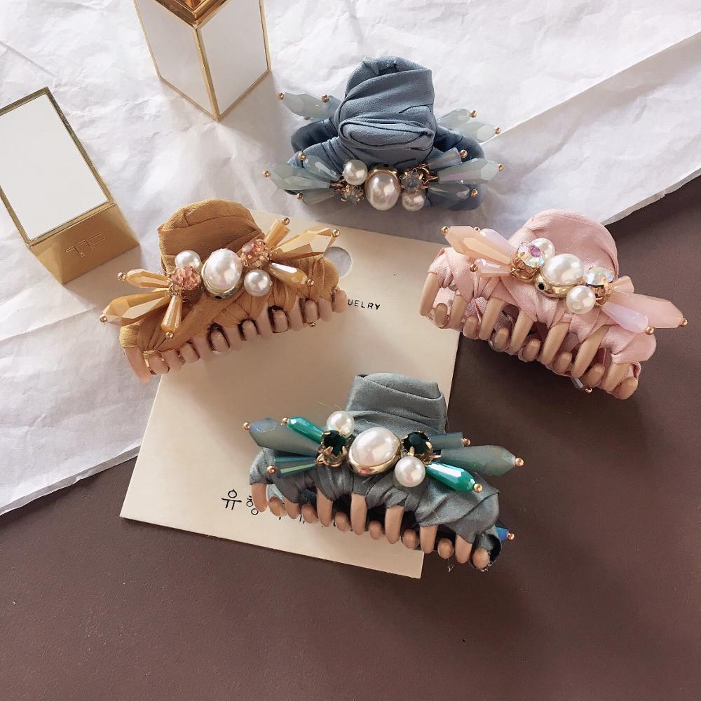 Feixe de Cabelo Mulheres de Cabelo Grampo de Cabelo Fashion Girl Retro Crystal Claws Hairpin Acessórios Beleza Cabelo Caranguejo Grampo Headwear Pequena