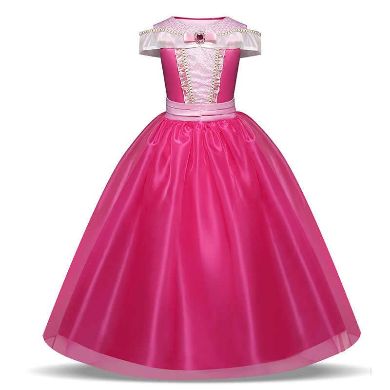 Uyku güzellik Aurora prenses elbiseler kristal Rhinestone korse payetli kar kraliçe doğum günü Vestidos çocuk cadılar bayramı kıyafetleri