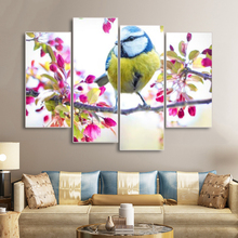 Laeacco Canvas Painting Calligraphy 4 Panel Chinese Flowers Birds Posters and Prints Wall Art Picture For Living Room Home Decor