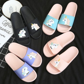 Unicorn Slide Sandals Women Slides Summer Cartoon Slippers Women Shoes Ladies Flip Flops Slide Sandals Beach Zapatillas Mujer