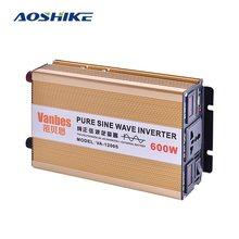 AOSHIKE-Inversor de onda sinusoidal pura para coche, convertidor de energía Solar de 12 V, 24V a 220 V, 600W, transformador de voltaje, 12 v, 220 v, bricolaje