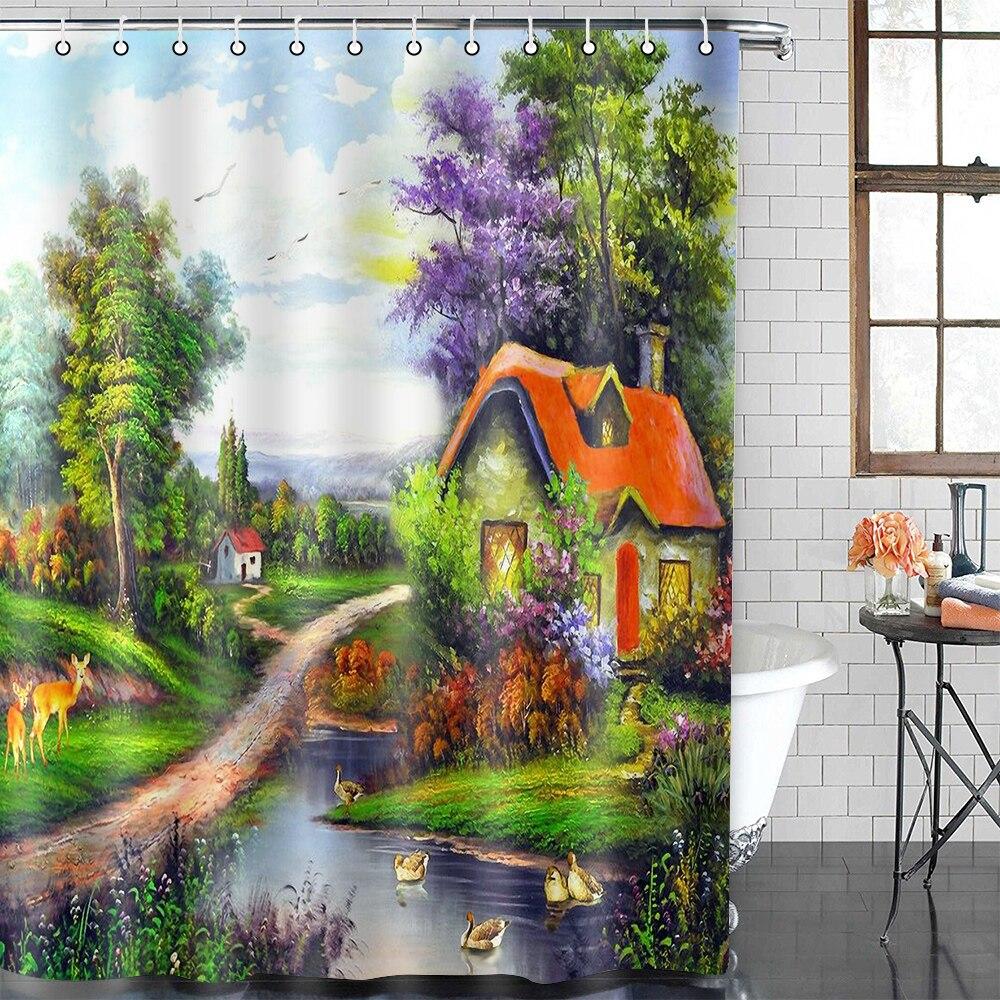 American farm town shower curtain Garden Flowers Scenery Shower Curtains Waterproof Polyester Bath Screens rideau de douche