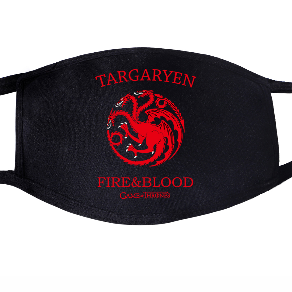 Game Of Thrones Not Today Arya Stark Winter Is Comming Daenerys Targaryen Wolf Dragon Face Mask