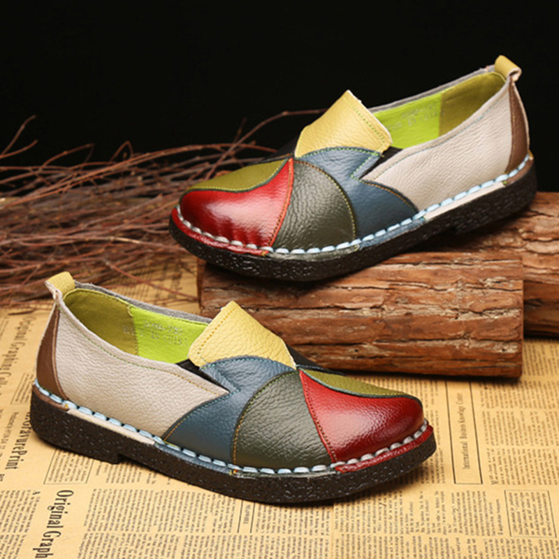 Spring Summer New PU Leather Women Flats Mixed Color Slip on Shoes for Women Moccasins Ladies Shoes Zapatos De Mujer VT660 (9)