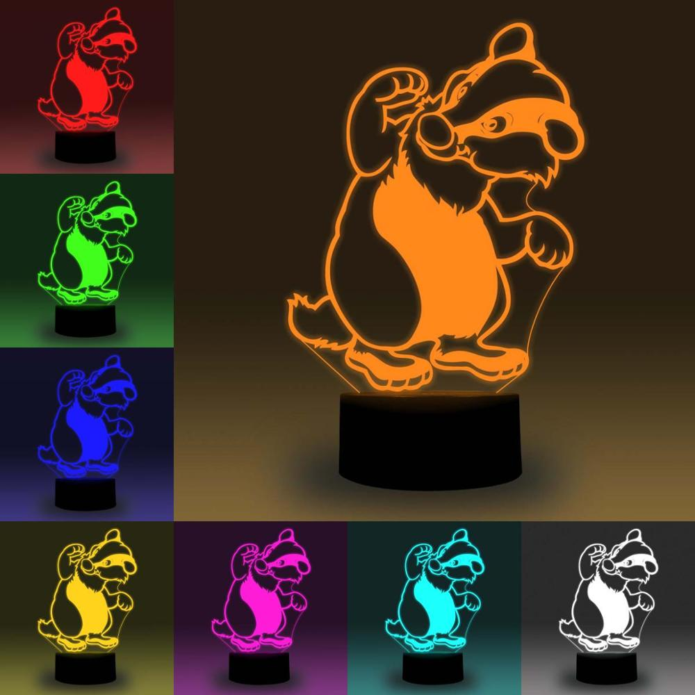 NiteApps 3D Raccoon LED Night Light Desk Table Illusion Lamp Holiday Birthday Gift APP/Touch Control
