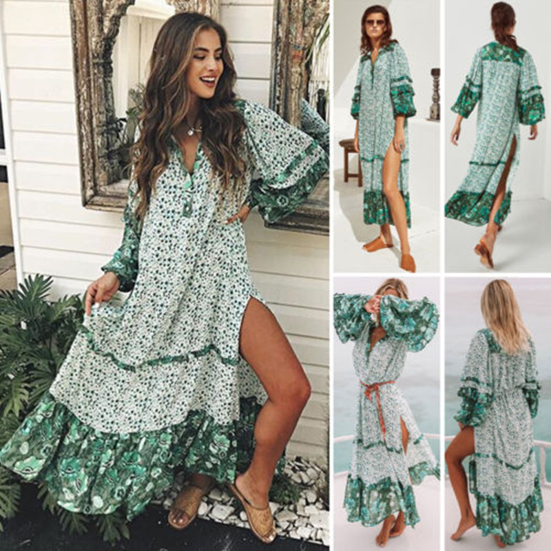 New Fashion Summer Womens Floral Boho Long Dress Evening Party V Neck Maxi Dress Plus Size