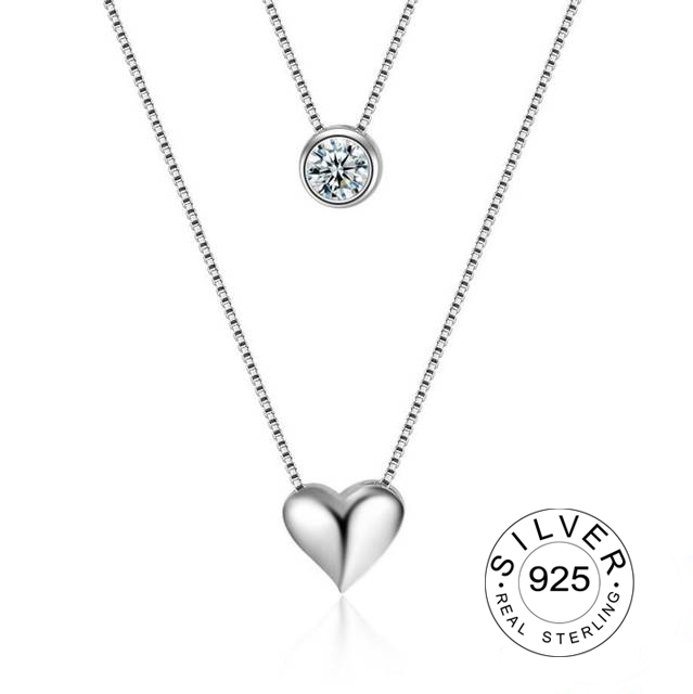 Wholesale Jewelry 925 Sterling Silver Double Layers Collarbone Necklace Chain CZ Love-heart Pendant Necklace For Women