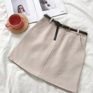 Image 3 - חצאיות נשים רטרו מוצק אלגנטי קוריאני סגנון גבוה מותן נשים כל התאמה רך גבירותיי קיץ שיק לנשימה כיסי חצאית 2020