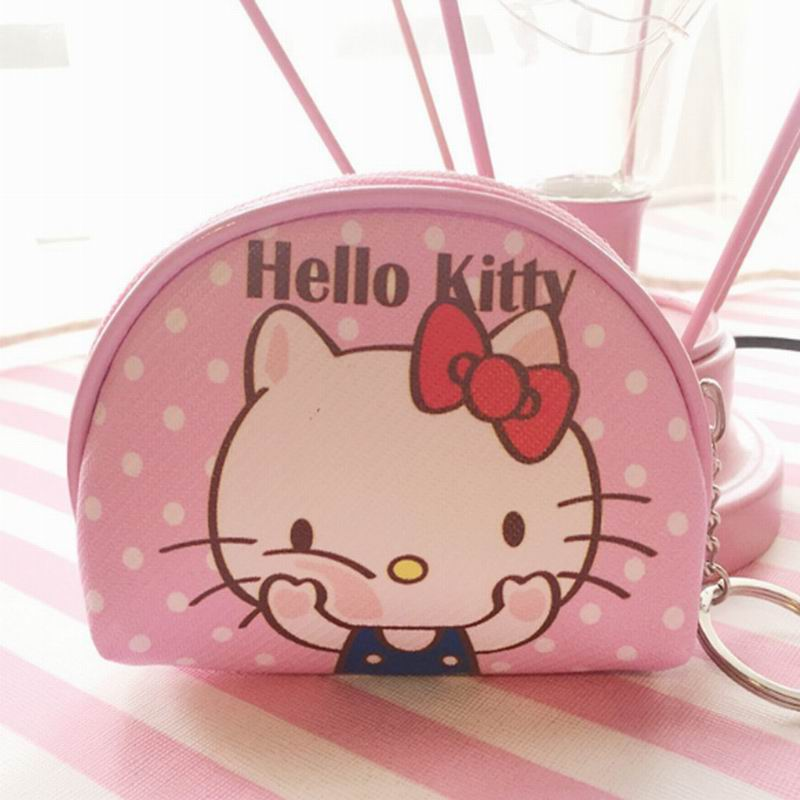 Hello Kitty Canvas HAND Coin Purse & Wallet Pouch Case BAG ; Pocket Key Chain Women Makeup Holder BAG Handbag