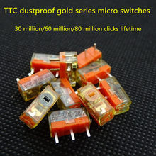 Nova chegada 2 unidades/pacote original ttc dustproof ouro série mouse micro interruptor contator ouro 30 60 80 milhões de cliques vida