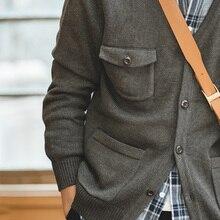 Maden Mens Casual V neck Cardigan Sweater Multi Pocket Knitwear Tooling Jacket Men