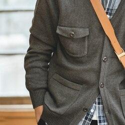 Maden para hombre Casual cuello en V cárdigan suéter Multi-Bolsillo tejido herramienta chaqueta hombres