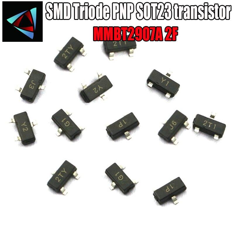100PCS MMBT2907A 2F SOT23 0.6A/40V PNP SOT SMD CR NPN SMD SOT-23 Surface Mount SMD Triode PNP SOT23 Transistor