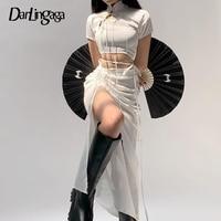 Darlingaga-Falda larga asimétrica para mujer, falda larga con cordón, color blanco, Harajuku, lateral liso, abertura, cintura alta, con cordones, para fiesta, verano, 2021