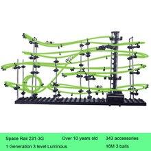 Space Rail 3 Levels Glow in dark 231-3G Roller Coaster Space Ball Model Building Kits DIY Educational Toys for Kids цена в Москве и Питере