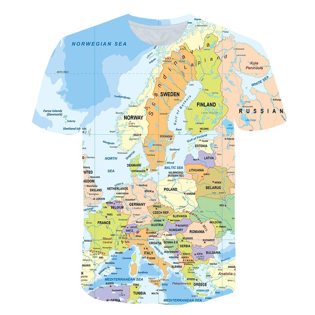 Ocean World Map 3D Print t shirt Travel t shirt Summer Men Vacation Tee Funny Short Sleeve Shirts Street wear Dropship PINSHUN