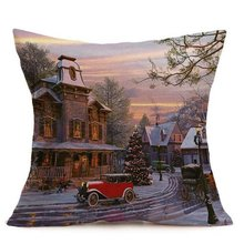 2018 Pillow Case  Merry Christmas Linen Pillow Cases Sofa Cushion Cover Home Decoration pillow cover christmas snow man home decoration