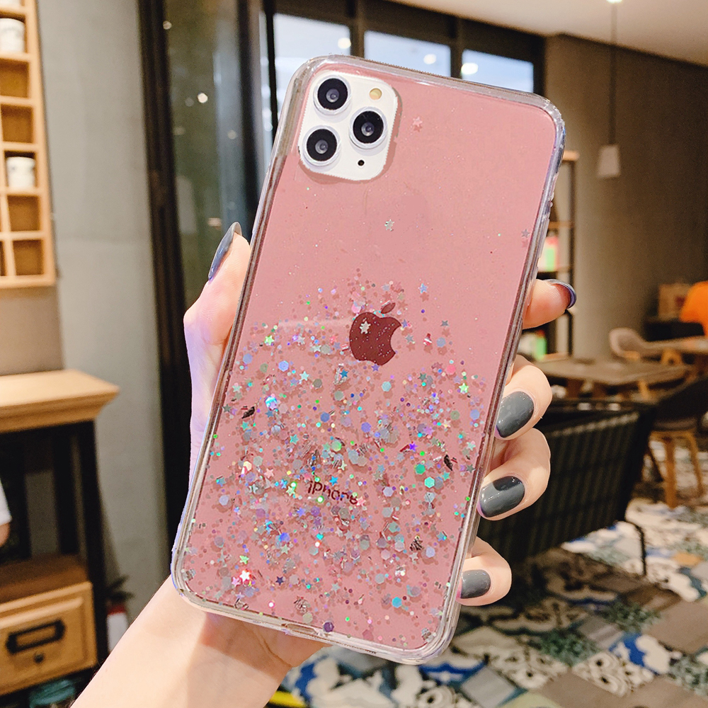 H532849f5868345e5ab35e05ec0903ef6E - Solid quicks Case For iphone 11 8 7 Plus 6 6s Glitter Bling Sequins Epoxy Star Case For iphone 11 Pro MAX X XR XS Soft TPU Cover