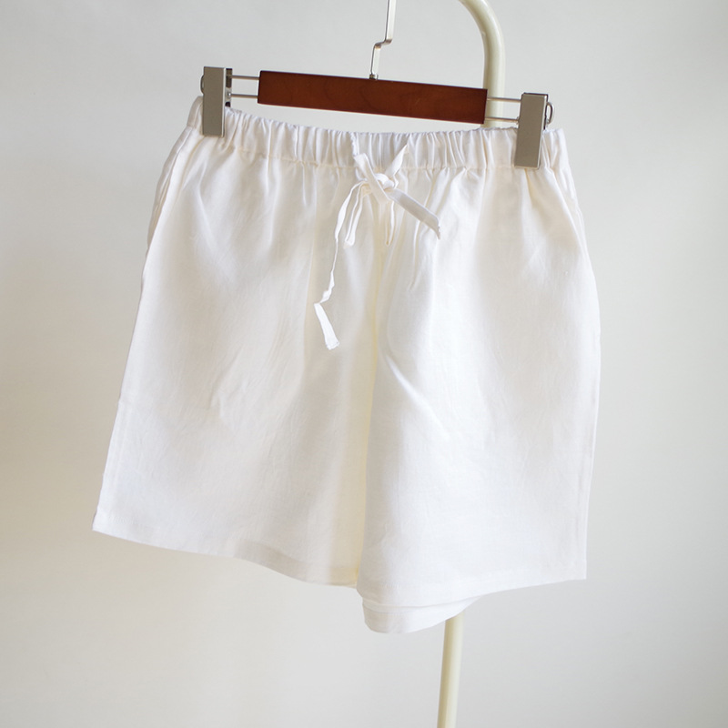 Summer Women's Cotton Linen Shorts White Pants At Casual-Outer Wear Slimming Medium Waist Elastic Literature And Art Japanese-st