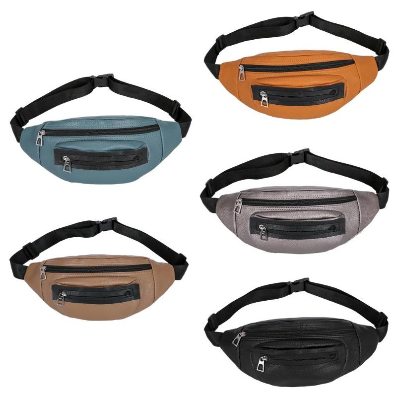 Durable Waist Packs Solid Multi-function Women PU Leather Fanny Waist Pack Casual Shoulder Crossbody Bags Money Pouch