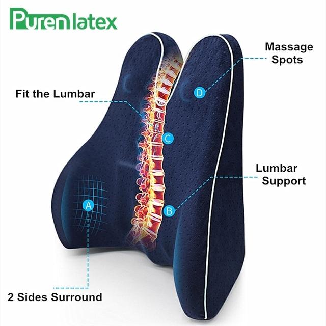 PurenLatex z pianki Memory talia lędźwiowa boczna poduszka wspomagająca kręgosłup Coccyx Protect ortopedyczne fotelik samochodowy Sofa biurowa poduszka na oparcie krzesła