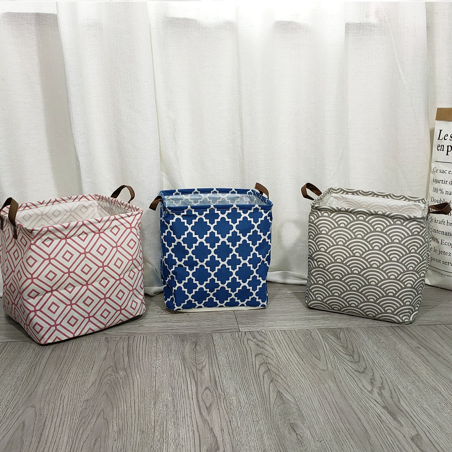 Folding Cube Canvas Storage Box Cotton Polyester PE Coated Assorted Laundry Bins Hamper Aqua Lattice For Toy Storage Basket