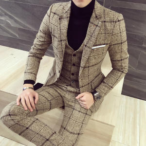 luxury suit ( Blazer + Vest + pant ) Plaid stripes mens suits 2019 Asia size S-5XL High quality men suits mens three-piece set