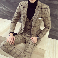 luxury suit Blazer Vest pant Plaid stripes men suits Asia size S 5XL High quality tuxedo mens suit 3 pieces set /Single piece
