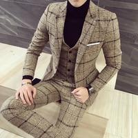 luxury suit ( Blazer + Vest + pant ) Plaid stripes mens suits 2019 Asia size S 5XL High quality men suits mens three piece set