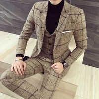 luxury suit Men Plaid business Blazer Vest pant men suits High quality tuxedo wedding suit new design Asia size S-5XL