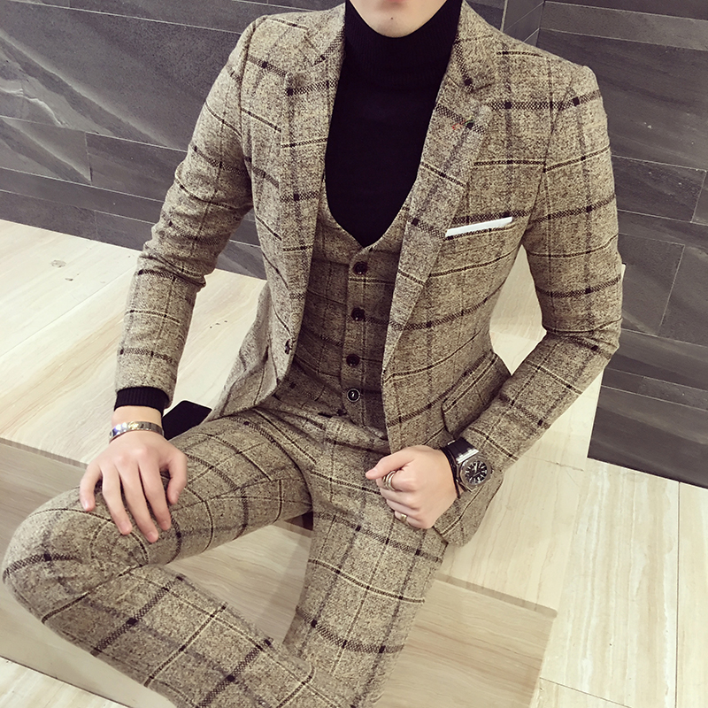 Luxury Suit Men Plaid Business Blazer Vest Pant Men Suits High Quality Tuxedo Wedding Suit New Design Asia Size S-5XL