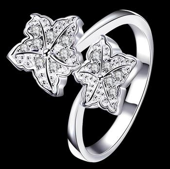 Fashion Flower Modern Trendy Shiny Zirconia Elegant Ring for Love Wedding Engagement Luxury Jewelry Party Silver Plated SPR065 image