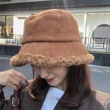 Women Hat Winter Spring Artificial Fur Thick Warm Plush Female Cap Bucket Hat Wool Fisherman Caps Sunscreen Panama Lady Cap