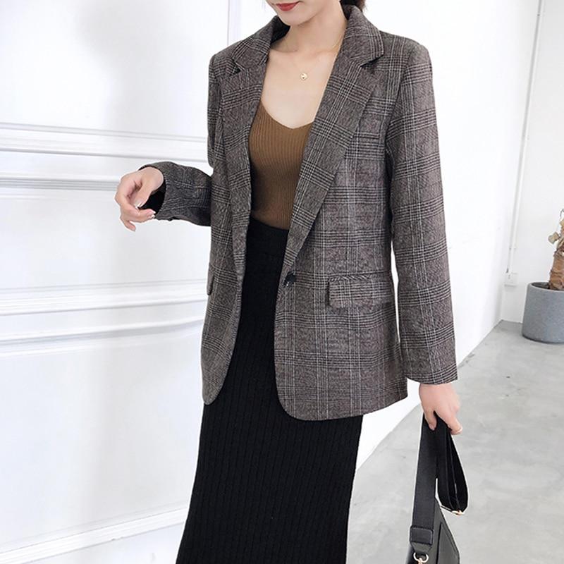 Drop Shipping Notched Collar Single Button Women Blazer Coat Vintage Plaid Women Jacket Slim Fit Elegant Outerwear Coats Femme