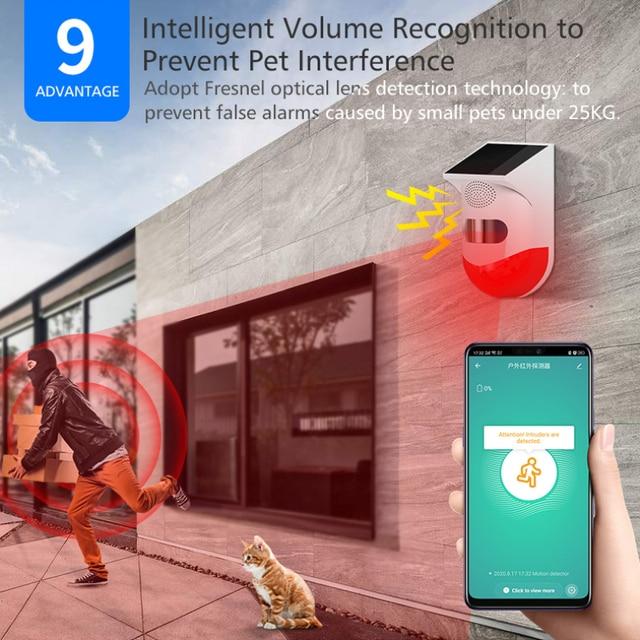 Family Intelligence System Smart Home Wireless Infrared Detector Alarm Solar 433MHz Strobe Siren PIR Waterproof