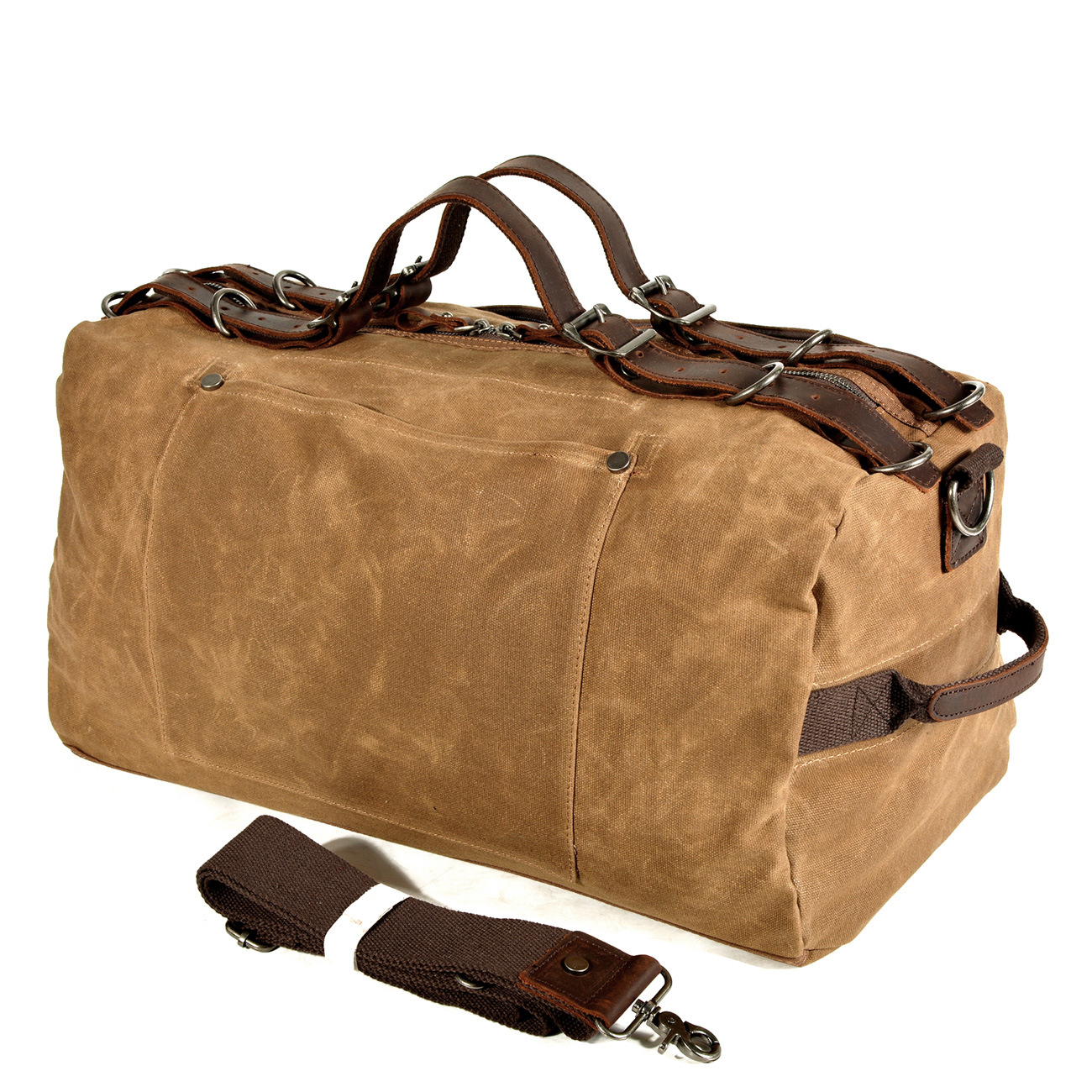 American-Style Military Style Retro Thick Oil Wax Canvas Shoulder Handbag Solid Craft Outdoor Gymnastic Valise