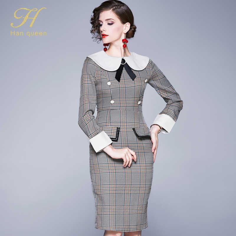 H Han queen винтажное сексуальное клетчатое облегающее платье-футляр для женщин 2019 зимнее лоскутное платье-карандаш с бантом OL для особых случаев Vestidos